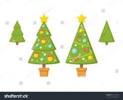 set christmas trees without ornaments modern stock vector