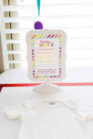 gerber onesies baby shower station with tulip fabric markers