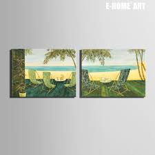 5 panel modern spray painting seascape beach sunset canvas free shipping e home oil painting beach side rest decoration painting set of 2 home