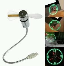 usb led clock fan cool office gadget desk flexible gooseneck usb