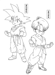dragon ball z trunks goten via dragon ball coloring page id
