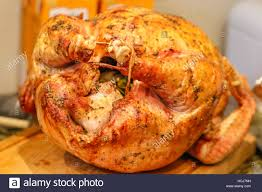 thanksgiving turkey cooked and ready to eat stock photo 128249677