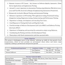 Sample Resume For 1 Year Experience In Manual Testing by Manual Testing Experienced Resume 1 Software Testing Software Bug