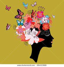 black silhouette womans butterflies flowers stock vector