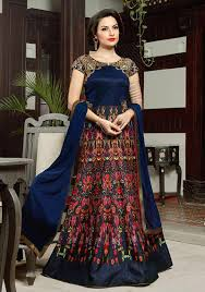 party wear dress buy online gowns india blue silk indian party wear