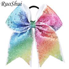 hair ribbon 7 inch sequin cheerleading hair bow glitter grosgrain ribbon bows