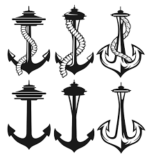 seattle space needle anchor svg cuttable designs