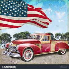 american flag truck red vintage pick truck american flag stock vector 264909203