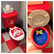 Ohio State Home Decor Fan Has Ohio State Toilet With Michigan Bowl Because College