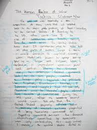 Please view an example of a student essay draft below  Students then incorporate teacher comments into a typed final draft