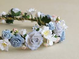 flower band flower crown serenity blue paper flower band made of