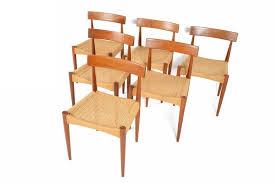 Dfs Dining Room Furniture Set Of Six Arne Hovmand Olsen For Mogens Kold Teak And Paper Cord