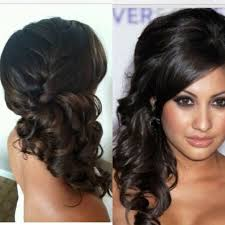 hair braiding styles long hair hang back bridesmaid hair up do front and back side pony with curls