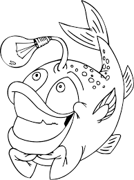 coloring pages of funny fish with a light bulb coloring point