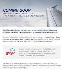 Business Platinum Card Amex Amex Business Platinum Adds Gogo Inflight Wifi Benefit One Mile