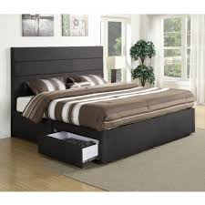 Black Platform Bed Queen Bedroom Black Fabric Upholstered Headboard Bed Frame Mixed With