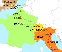 Paris France On Map by London To Rome Highlights Trafalgar Gsa