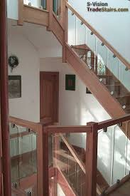Banister Rail And Spindles Glass Balustrading Oak Handrail With Glass Toughened Glass