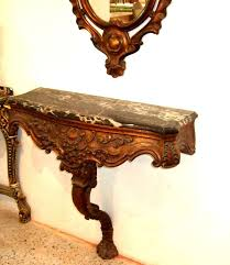 Wall Console Table Brownish Aged Gilding Finish Wall Console With Mirror Carved With