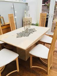 travertine marble stone dining table with 6 high back chairs travertine marble stone dining table with 6 high back chairs excellent condition