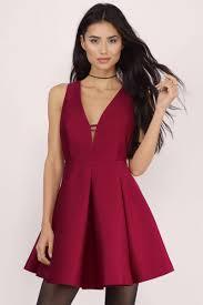 cheap wine skater dress sleeveless dress skater dress 15