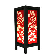 aladin hibiscus flower oriental japanese wood table floor lamp