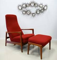 reclining back chair with ottoman vintage mid century danish modern reclining high back lounge chair
