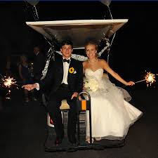 love the usage of the golf cart for the sparkle send off find a