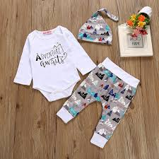 new year baby clothes new 2018 autumn fashion romper printing hat clothes