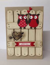 stampin up valentines day card using the owl punch wood grain