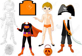 kids halloween party clipart pointing paper boy with three costumes for halloween party