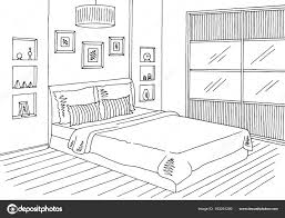 bedroom graphic interior sketch illustration vector