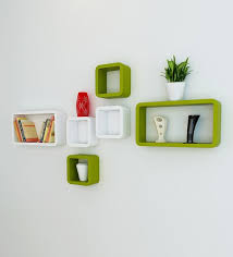 wall shelves pepperfry buy cubic modular wall shelf set of 6 in green white finish by