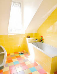 Yellow Tile Bathroom Ideas Amusing Yellow Bathroom Floor Tile In Modern Home Interior Design