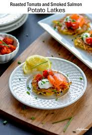 roasted tomato and smoked salmon potato latkes recipe chefdehome com