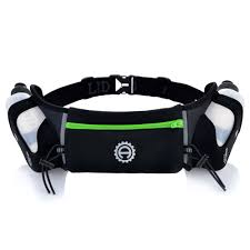 hydration belt with two 10 ounce water bottles lime green medium