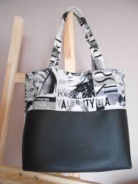 patron sac cuir gratuit sac cabas simili cuir et tissu imprimé magazine sacs à main par