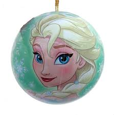 disney green elsa tin christmas tree decoration with cookie