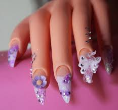 3d stiletto acrylic nails design butterfly and flower glitter