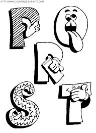 coloriage alphabet drôle avec les lettres pqrst à imprimer et à