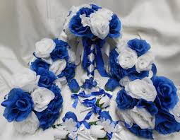 royal blue corsage and boutonniere wedding silk flower bridal bouquets 18 pcs package royal blue