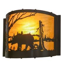 Elephant Wall Sconce Rustic Cabin Lamps And Lighting Wall Sconce