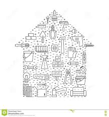 Simple Design House Home Repair And Construction Outline Gray Vector Background