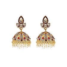 jhumki style earrings buy jewellery hut gold plated kundan style jhumki earrings with