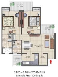 2bhk Plan by Floor Plans Nirala Aspire Noida Extension