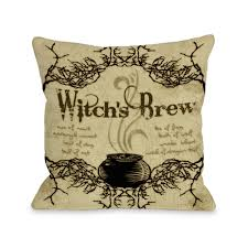 halloween pillow witchs brew square halloween throw pillow sewn closed tan color