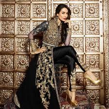 buy black front slit pant style suit online women ethnic wear at