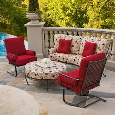 Outdoor Sling Patio Furniture Resin Wicker Patio Furniture Red Cushions Loveseat Two 360 Swivel