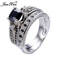 black crystal rings images Junxin men 39 s gorgeous black crystal ring set promise engagement jpg