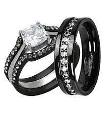 black diamond wedding set his hers 4 pc black stainless steel titanium wedding engagement